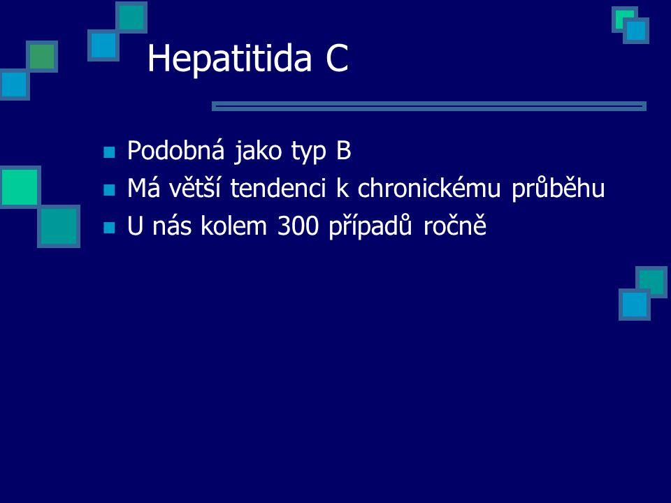 Hepatitida C Podobná jako typ B Má větší tendenci k chronickému průběhu U nás kolem 300 případů ročně