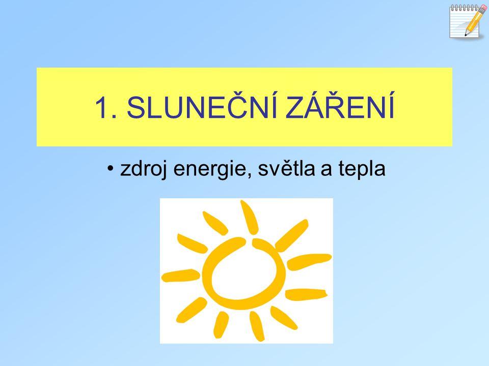 1. SLUNEČNÍ ZÁŘENÍ zdroj energie, světla a tepla