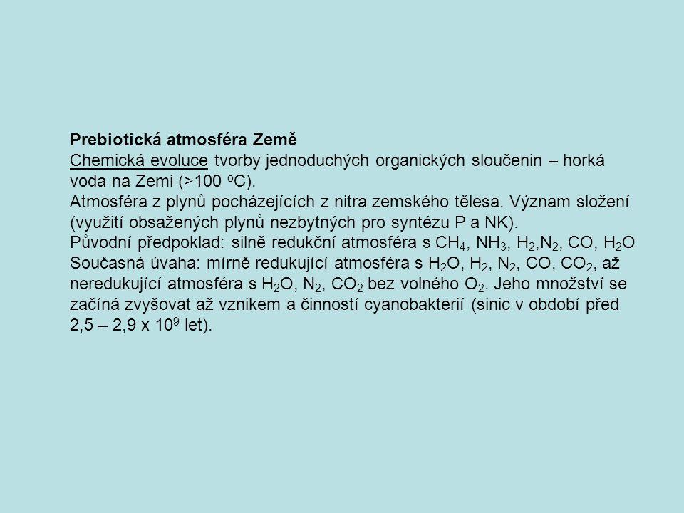 Prebiotická atmosféra Země Chemická evoluce tvorby jednoduchých organických sloučenin – horká voda na Zemi (>100 o C). Atmosféra z plynů pocházejících