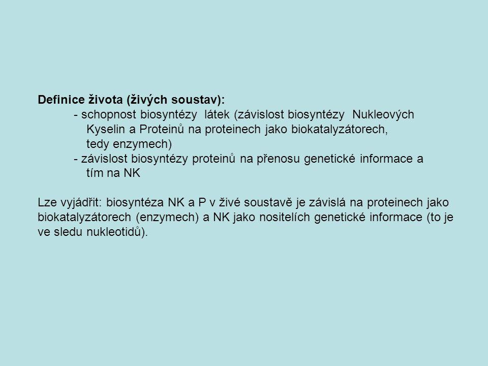 Definice života (živých soustav): - schopnost biosyntézy látek (závislost biosyntézy Nukleových Kyselin a Proteinů na proteinech jako biokatalyzátorec