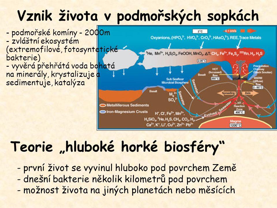 Vznik života v podmořských sopkách - první život se vyvinul hluboko pod povrchem Země - dnešní bakterie několik kilometrů pod povrchem - možnost život