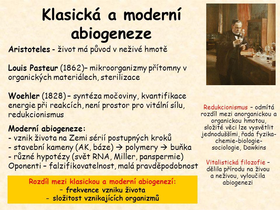Klasická a moderní abiogeneze Aristoteles - život má původ v neživé hmotě Louis Pasteur (1862)– mikroorganizmy přítomny v organických materiálech, ste