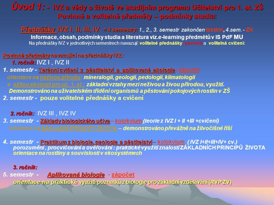 Úvod 1: - IVZ a vědy o životě ve studijním programu Učitelství pro 1.
