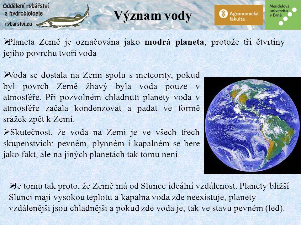 Význam vody  Voda se dostala na Zemi spolu s meteority, pokud byl povrch Země žhavý byla voda pouze v atmosféře.