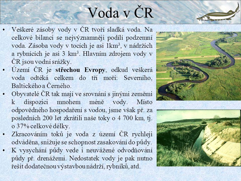 Voda v ČR Veškeré zásoby vody v ČR tvoří sladká voda.