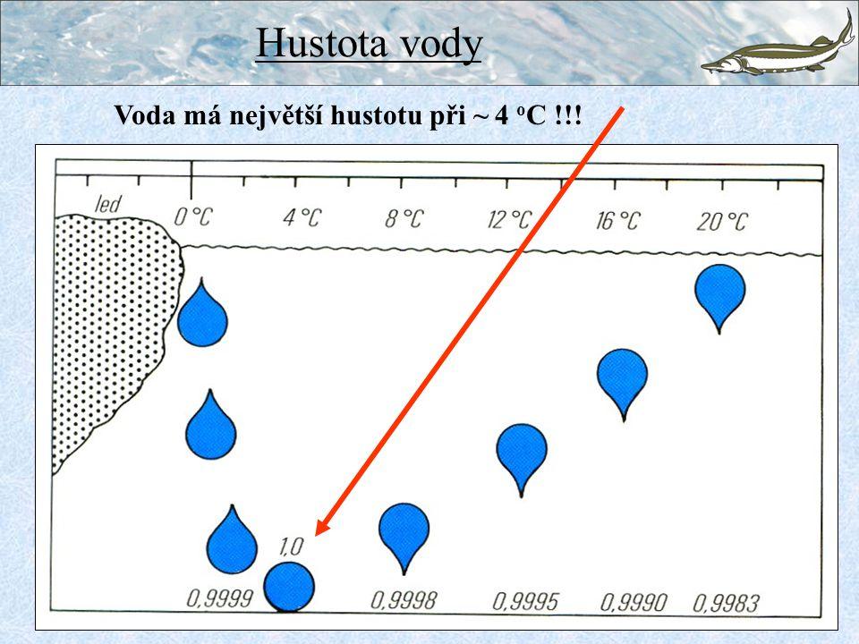 Voda má největší hustotu při ~ 4 o C !!! Hustota vody