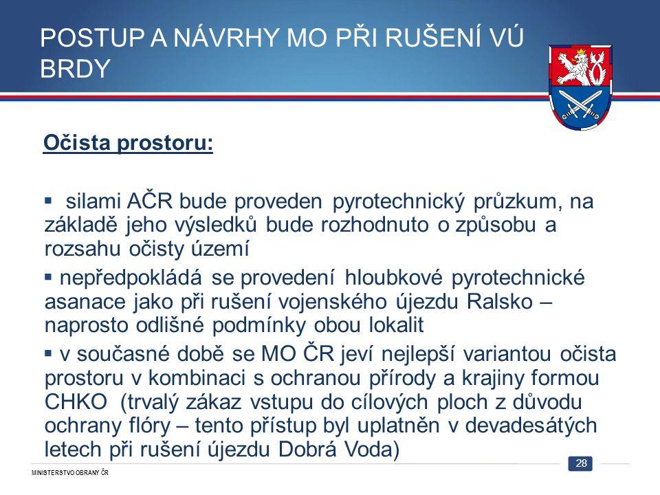 MINISTERSTVO OBRANY ČR 28 Očista prostoru:  silami AČR bude proveden pyrotechnický průzkum, na základě jeho výsledků bude rozhodnuto o způsobu a rozs