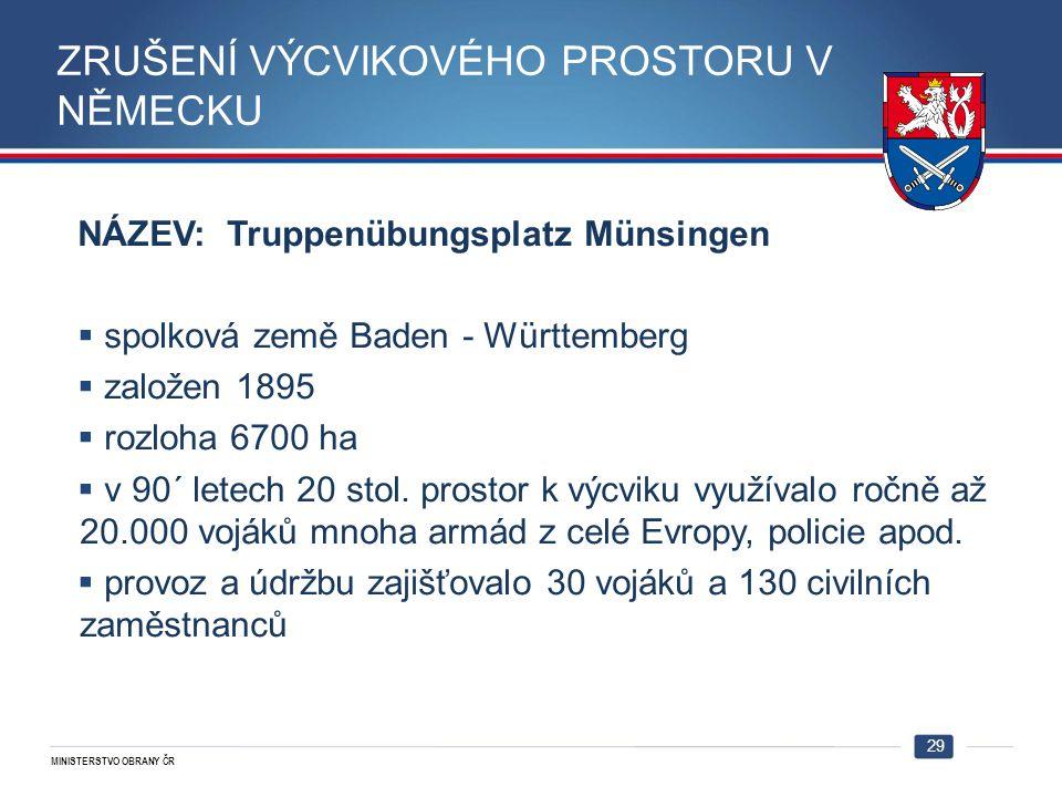 MINISTERSTVO OBRANY ČR 29 NÁZEV: Truppenübungsplatz Münsingen  spolková země Baden - Württemberg  založen 1895  rozloha 6700 ha  v 90´ letech 20 s