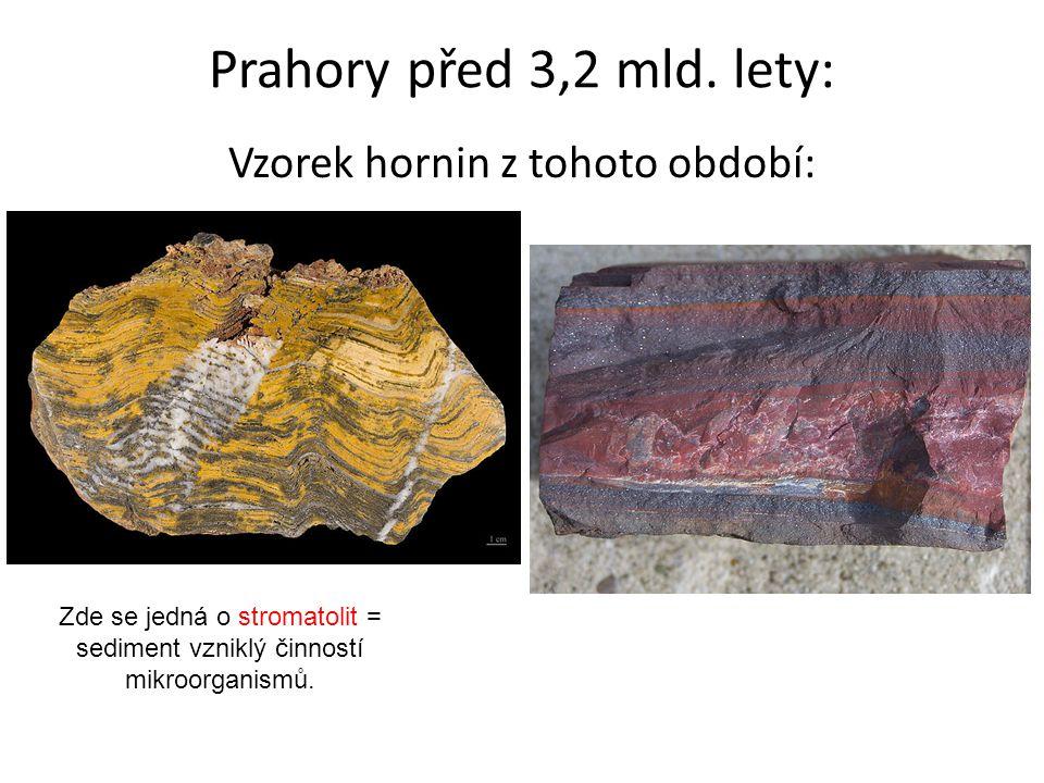Prahory před 3,2 mld. lety: Vzorek hornin z tohoto období: Zde se jedná o stromatolit = sediment vzniklý činností mikroorganismů.