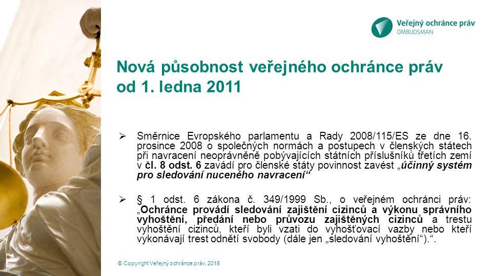 Nová působnost veřejného ochránce práv od 1. ledna 2011  Směrnice Evropského parlamentu a Rady 2008/115/ES ze dne 16. prosince 2008 o společných norm
