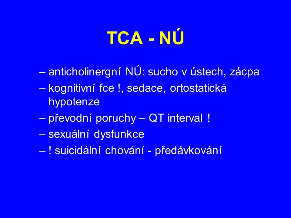 TCA - NÚ –anticholinergní NÚ: sucho v ústech, zácpa –kognitivní fce !, sedace, ortostatická hypotenze –převodní poruchy – QT interval ! –sexuální dysf