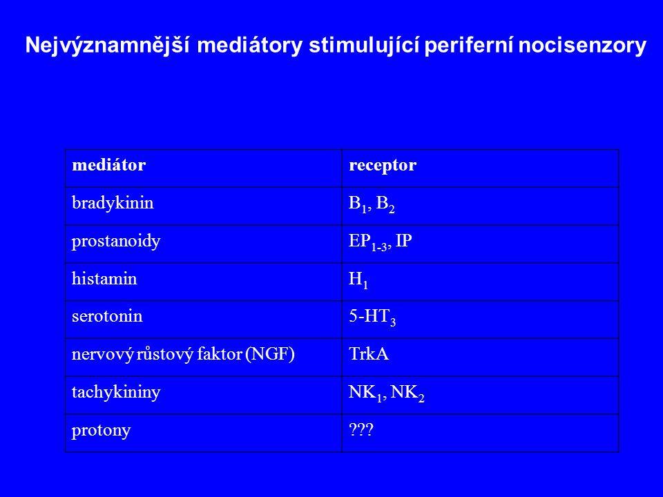 Nejvýznamnější mediátory stimulující periferní nocisenzory mediátorreceptor bradykininB 1, B 2 prostanoidyEP 1-3, IP histaminH1H1 serotonin5-HT 3 nervový růstový faktor (NGF)TrkA tachykininyNK 1, NK 2 protony???