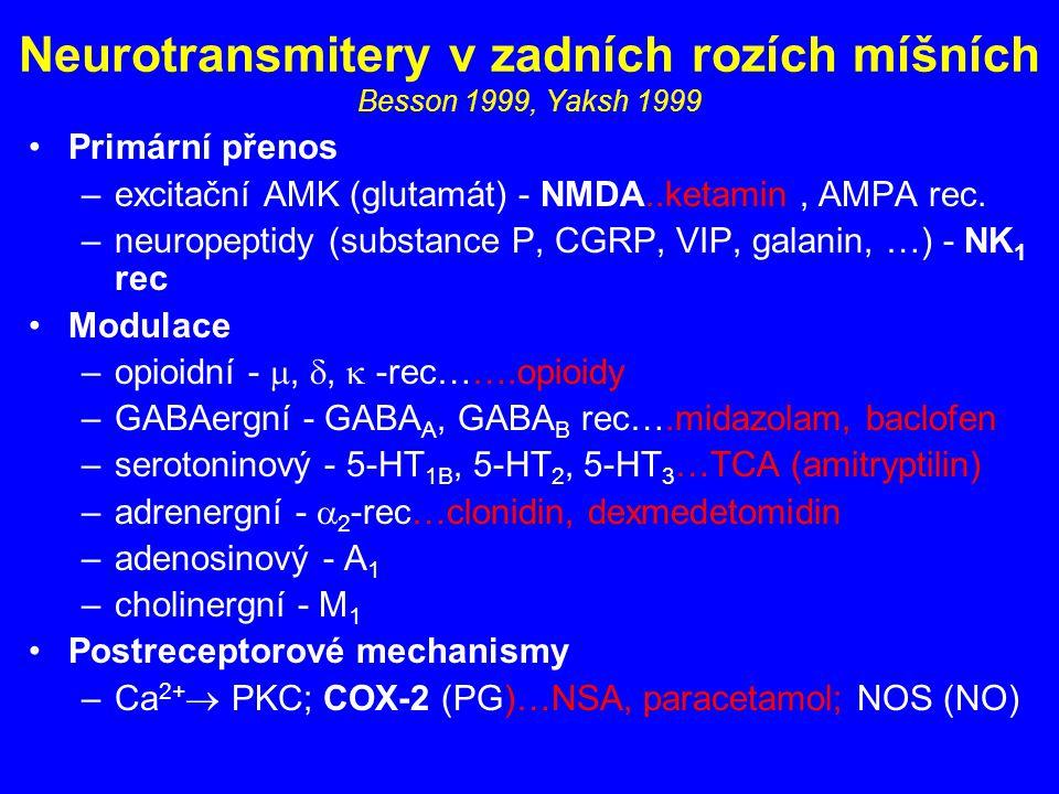 Neurotransmitery v zadních rozích míšních Besson 1999, Yaksh 1999 Primární přenos –excitační AMK (glutamát) - NMDA..ketamin, AMPA rec. –neuropeptidy (