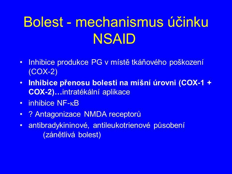 Bolest - mechanismus účinku NSAID Inhibice produkce PG v místě tkáňového poškození (COX-2) Inhibice přenosu bolesti na míšní úrovni (COX-1 + COX-2)…intratékální aplikace inhibice NF-  B .