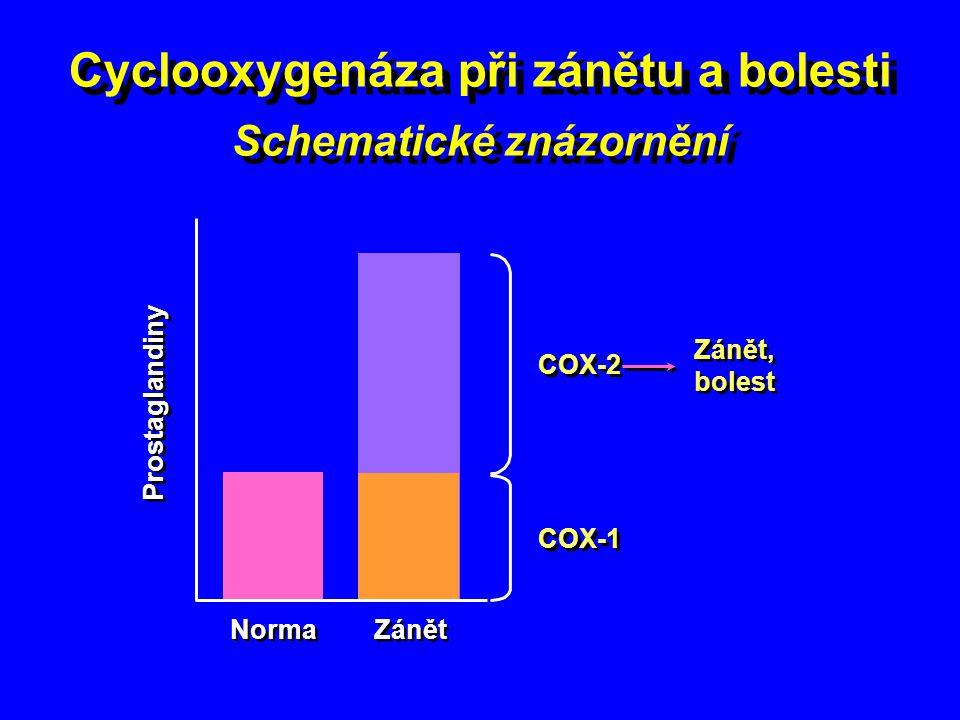 Cyclooxygenáza při zánětu a bolesti Schematické znázornění COX-2 Zánět, bolest Prostaglandiny COX-1 Zánět Norma