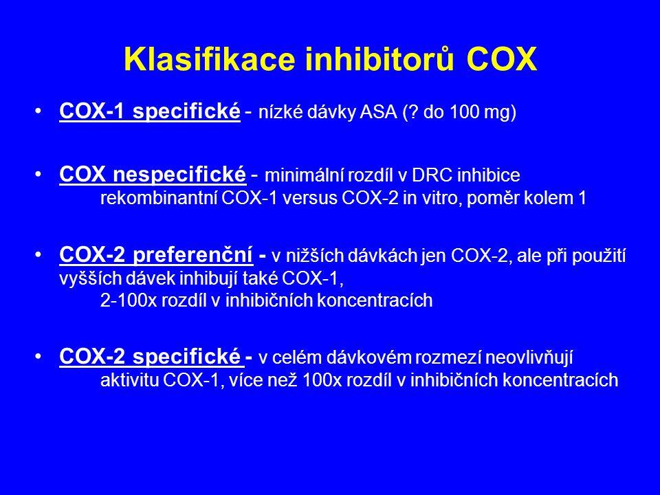Klasifikace inhibitorů COX COX-1 specifické - nízké dávky ASA (? do 100 mg) COX nespecifické - minimální rozdíl v DRC inhibice rekombinantní COX-1 ver