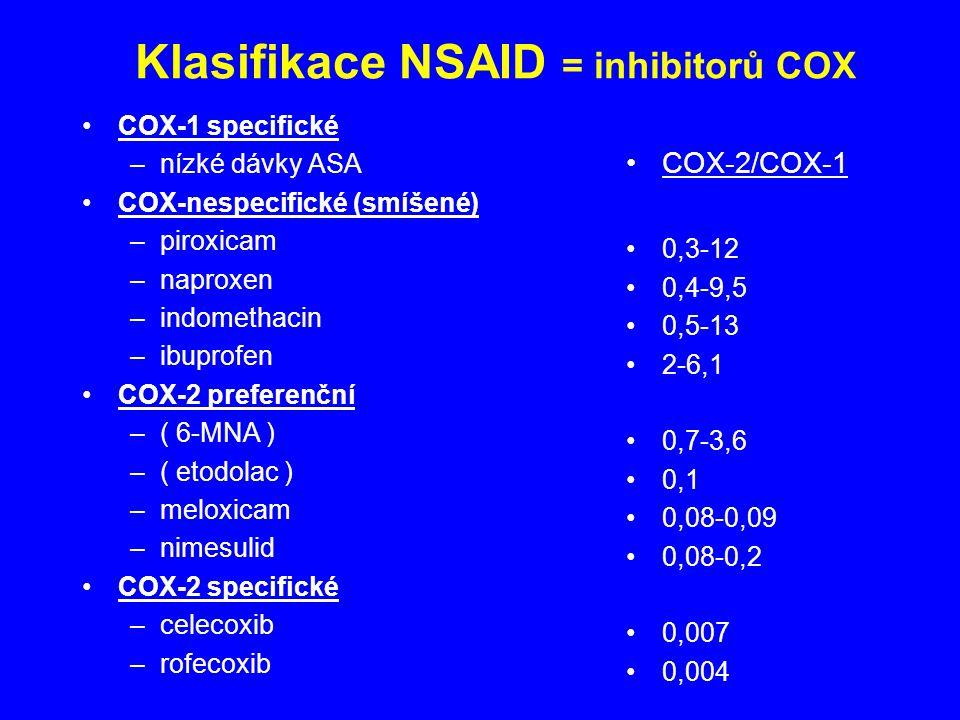 Klasifikace NSAID = inhibitorů COX COX-1 specifické –nízké dávky ASA COX-nespecifické (smíšené) –piroxicam –naproxen –indomethacin –ibuprofen COX-2 preferenční –( 6-MNA ) –( etodolac ) –meloxicam –nimesulid COX-2 specifické –celecoxib –rofecoxib COX-2/COX-1 0,3-12 0,4-9,5 0,5-13 2-6,1 0,7-3,6 0,1 0,08-0,09 0,08-0,2 0,007 0,004