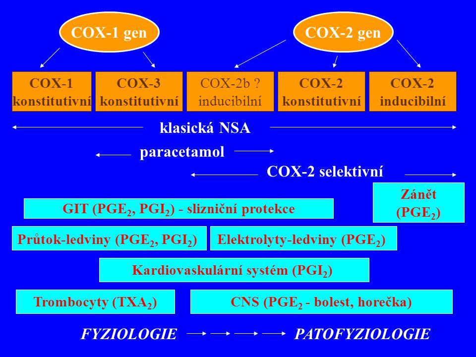 COX-1 genCOX-2 gen COX-1 konstitutivní COX-3 konstitutivní COX-2b ? inducibilní COX-2 konstitutivní COX-2 inducibilní klasická NSA paracetamol COX-2 s