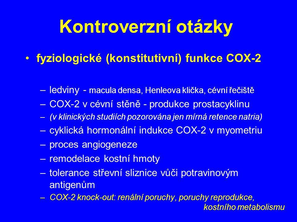 Kontroverzní otázky fyziologické (konstitutivní) funkce COX-2 –ledviny - macula densa, Henleova klička, cévní řečiště –COX-2 v cévní stěně - produkce prostacyklinu –(v klinických studiích pozorována jen mírná retence natria) –cyklická hormonální indukce COX-2 v myometriu –proces angiogeneze –remodelace kostní hmoty –tolerance střevní sliznice vůči potravinovým antigenům –COX-2 knock-out: renální poruchy, poruchy reprodukce, kostního metabolismu