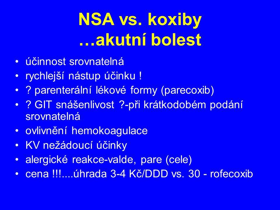 NSA vs. koxiby …akutní bolest účinnost srovnatelná rychlejší nástup účinku ! ? parenterální lékové formy (parecoxib) ? GIT snášenlivost ?-při krátkodo