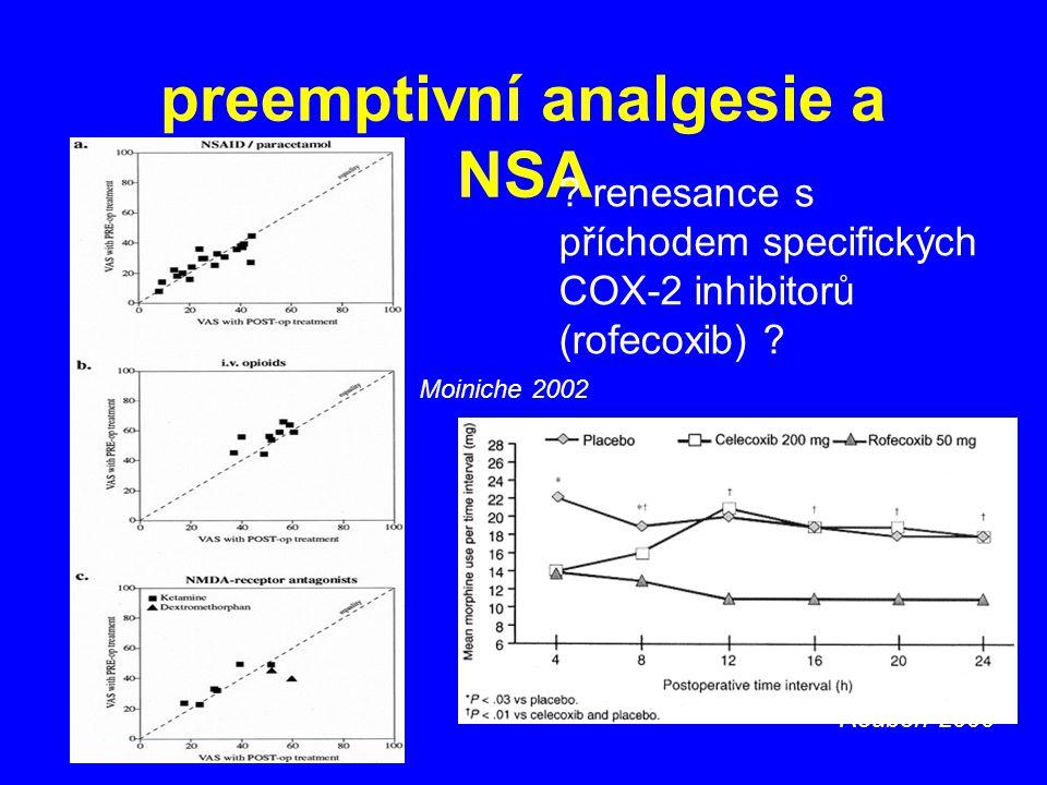 preemptivní analgesie a NSA Reuben 2000 Moiniche 2002 ? renesance s příchodem specifických COX-2 inhibitorů (rofecoxib) ?
