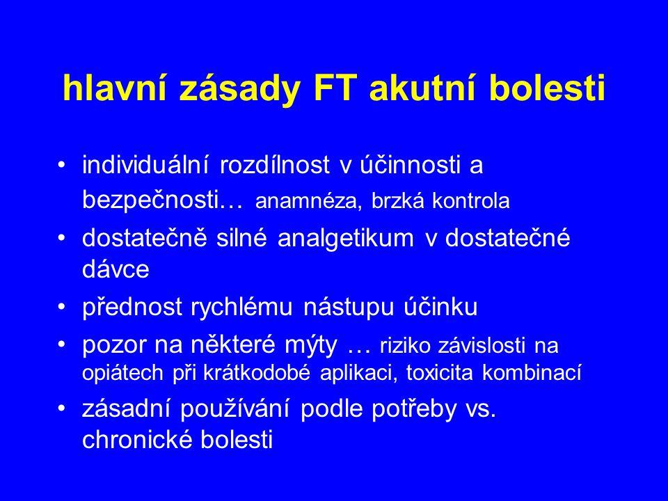 hlavní zásady FT akutní bolesti individuální rozdílnost v účinnosti a bezpečnosti… anamnéza, brzká kontrola dostatečně silné analgetikum v dostatečné