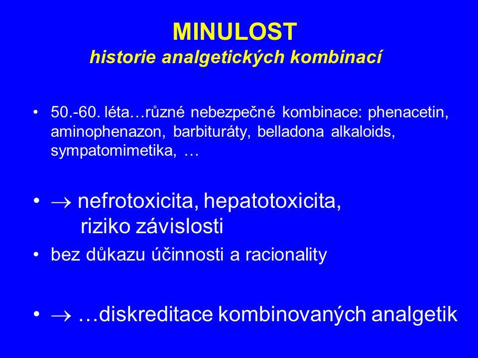 MINULOST historie analgetických kombinací 50.-60. léta…různé nebezpečné kombinace: phenacetin, aminophenazon, barbituráty, belladona alkaloids, sympat
