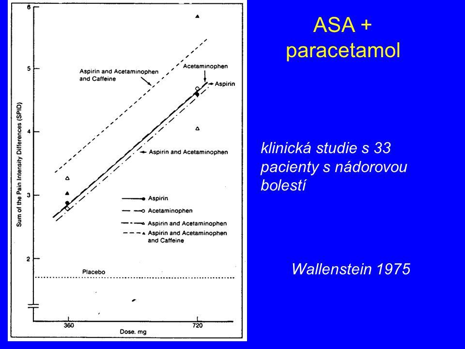 ASA + paracetamol klinická studie s 33 pacienty s nádorovou bolestí Wallenstein 1975