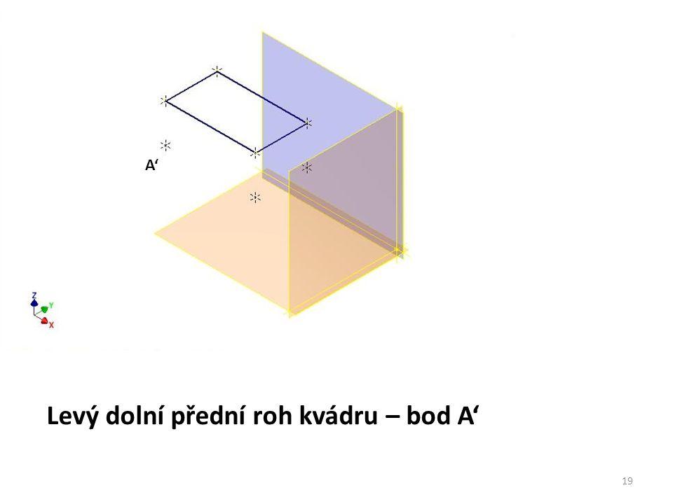 Levý dolní přední roh kvádru – bod A' A' 19