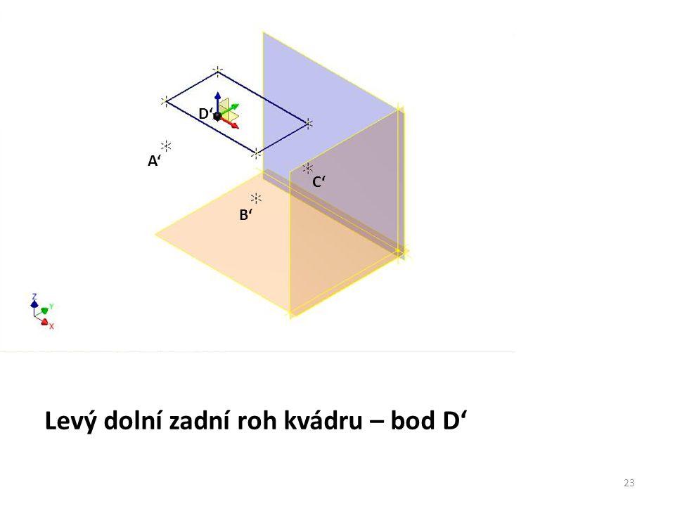 A' Levý dolní zadní roh kvádru – bod D' B' C' D' 23
