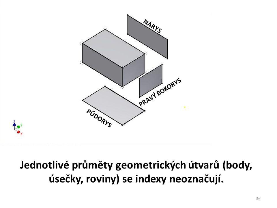 NÁRYS PŮDORYS PRAVÝ BOKORYS Jednotlivé průměty geometrických útvarů (body, úsečky, roviny) se indexy neoznačují. 36