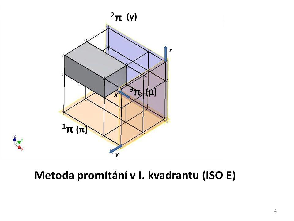 1π1π 2π2π 3π3π x y z (µ) (γ) (π) 4 Metoda promítání v I. kvadrantu (ISO E)