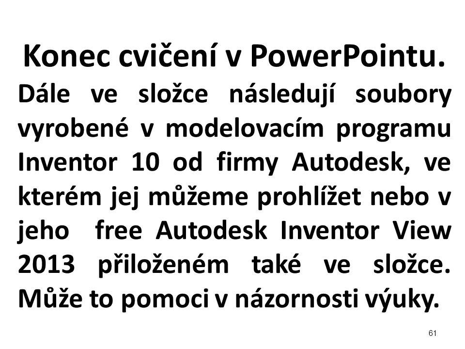 Konec cvičení v PowerPointu. Dále ve složce následují soubory vyrobené v modelovacím programu Inventor 10 od firmy Autodesk, ve kterém jej můžeme proh
