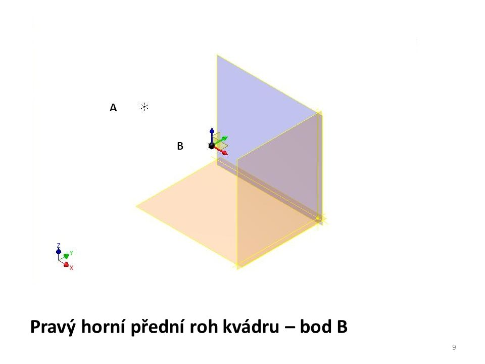 A B Pravý horní přední roh kvádru – bod B 9