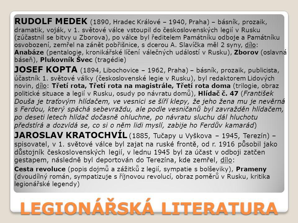 LEGIONÁŘSKÁ LITERATURA RUDOLF MEDEK (1890, Hradec Králové – 1940, Praha) – básník, prozaik, dramatik, voják, v 1. světové válce vstoupil do českoslove