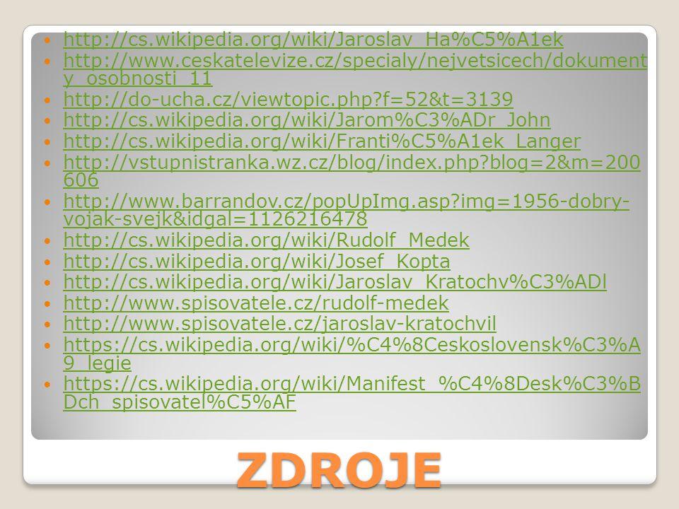 ZDROJE http://cs.wikipedia.org/wiki/Jaroslav_Ha%C5%A1ek http://www.ceskatelevize.cz/specialy/nejvetsicech/dokument y_osobnosti_11 http://www.ceskatele