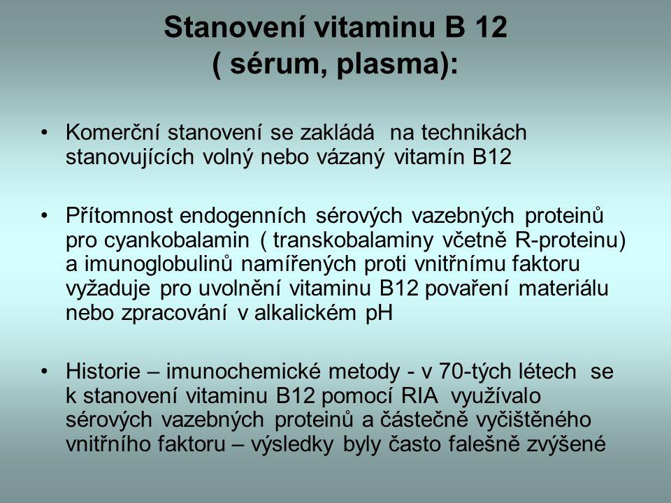 Stanovení vitaminu B 12 ( sérum, plasma): Komerční stanovení se zakládá na technikách stanovujících volný nebo vázaný vitamín B12 Přítomnost endogenních sérových vazebných proteinů pro cyankobalamin ( transkobalaminy včetně R-proteinu) a imunoglobulinů namířených proti vnitřnímu faktoru vyžaduje pro uvolnění vitaminu B12 povaření materiálu nebo zpracování v alkalickém pH Historie – imunochemické metody - v 70-tých létech se k stanovení vitaminu B12 pomocí RIA využívalo sérových vazebných proteinů a částečně vyčištěného vnitřního faktoru – výsledky byly často falešně zvýšené
