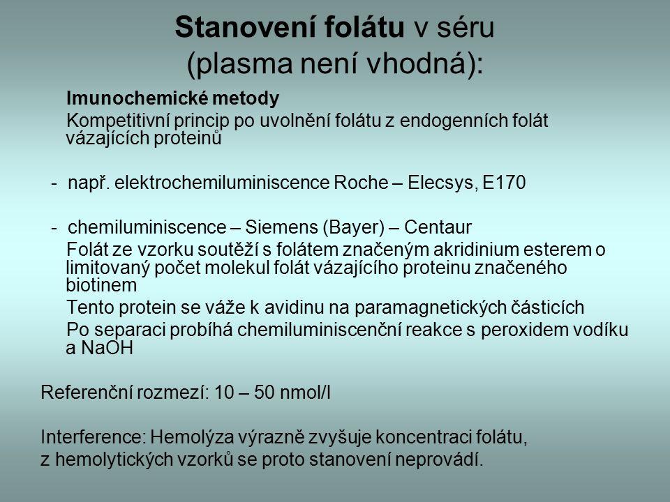 Stanovení folátu v séru (plasma není vhodná): Imunochemické metody Kompetitivní princip po uvolnění folátu z endogenních folát vázajících proteinů - např.