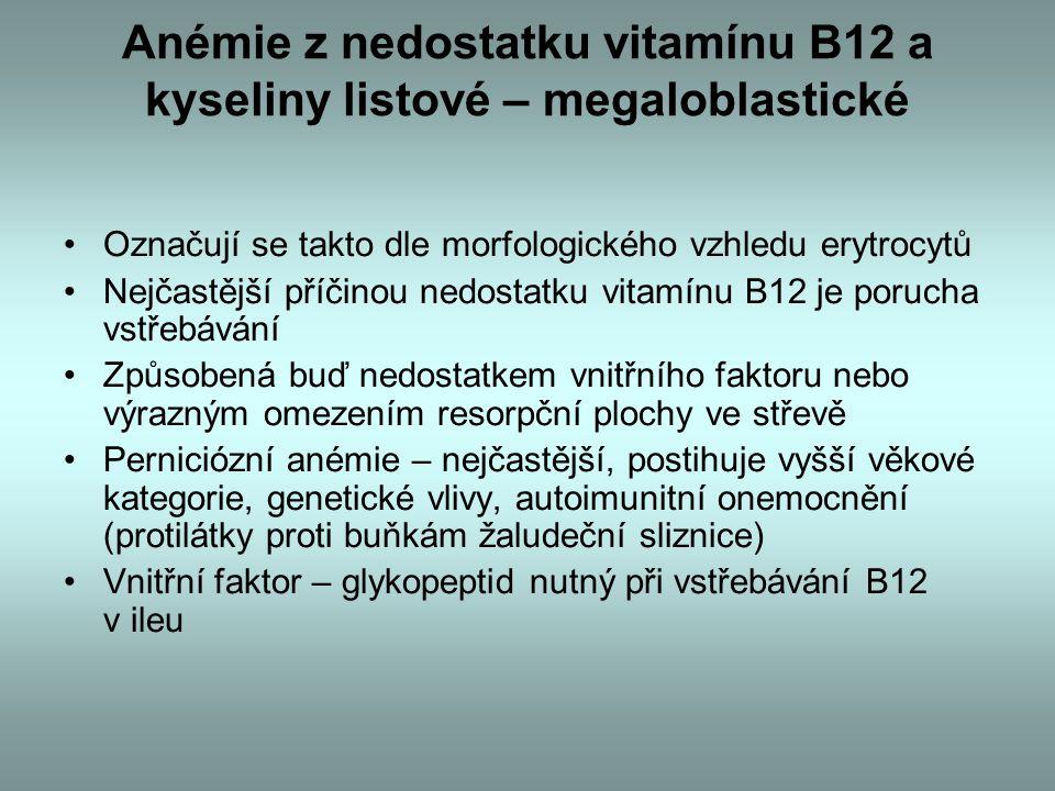 Anémie z nedostatku vitamínu B12 a kyseliny listové – megaloblastické Označují se takto dle morfologického vzhledu erytrocytů Nejčastější příčinou nedostatku vitamínu B12 je porucha vstřebávání Způsobená buď nedostatkem vnitřního faktoru nebo výrazným omezením resorpční plochy ve střevě Perniciózní anémie – nejčastější, postihuje vyšší věkové kategorie, genetické vlivy, autoimunitní onemocnění (protilátky proti buňkám žaludeční sliznice) Vnitřní faktor – glykopeptid nutný při vstřebávání B12 v ileu
