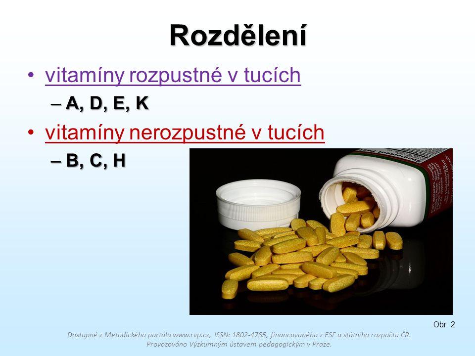 Rozdělení vitamíny rozpustné v tucích –A, D, E, K vitamíny nerozpustné v tucích –B, C, H Dostupné z Metodického portálu www.rvp.cz, ISSN: 1802-4785, f
