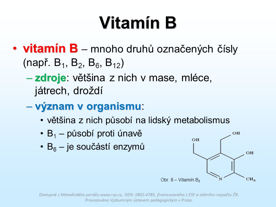 Vitamín B vitamín Bvitamín B – mnoho druhů označených čísly (např. B 1, B 2, B 6, B 12 ) –zdroje –zdroje: většina z nich v mase, mléce, játrech, drožd