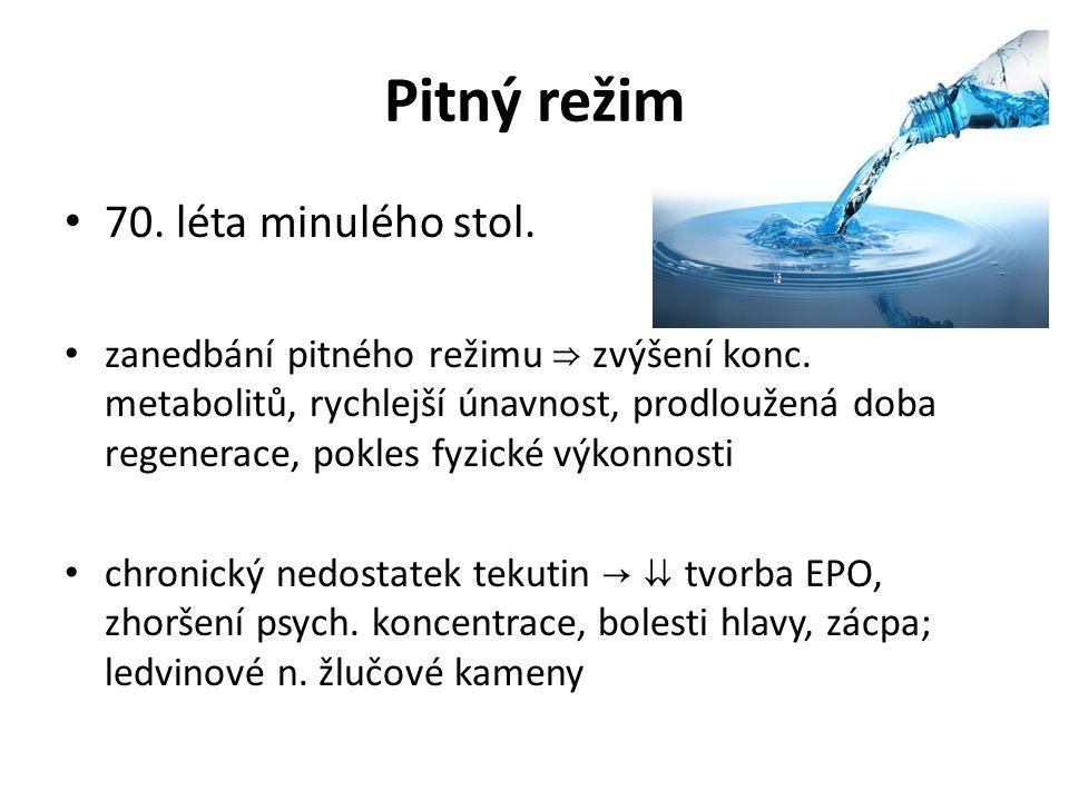 Pitný režim 70. léta minulého stol. zanedbání pitného režimu ⇒ zvýšení konc. metabolitů, rychlejší únavnost, prodloužená doba regenerace, pokles fyzic