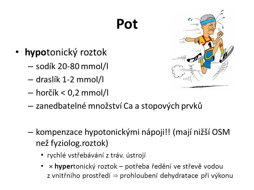 Pot hypotonický roztok – sodík 20-80 mmol/l – draslík 1-2 mmol/l – horčík < 0,2 mmol/l – zanedbatelné množství Ca a stopových prvků – kompenzace hypot
