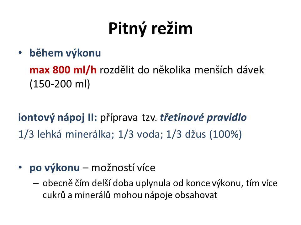 Pitný režim během výkonu max 800 ml/h rozdělit do několika menších dávek (150-200 ml) iontový nápoj II: příprava tzv. třetinové pravidlo 1/3 lehká min
