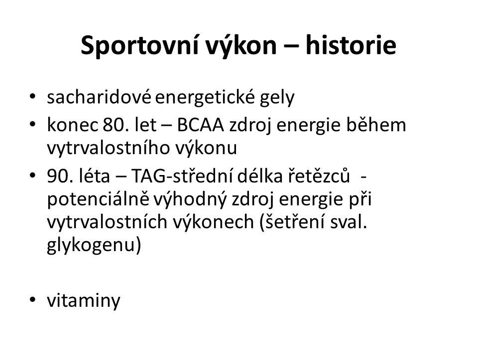 Sportovní výkon – historie sacharidové energetické gely konec 80. let – BCAA zdroj energie během vytrvalostního výkonu 90. léta – TAG-střední délka ře