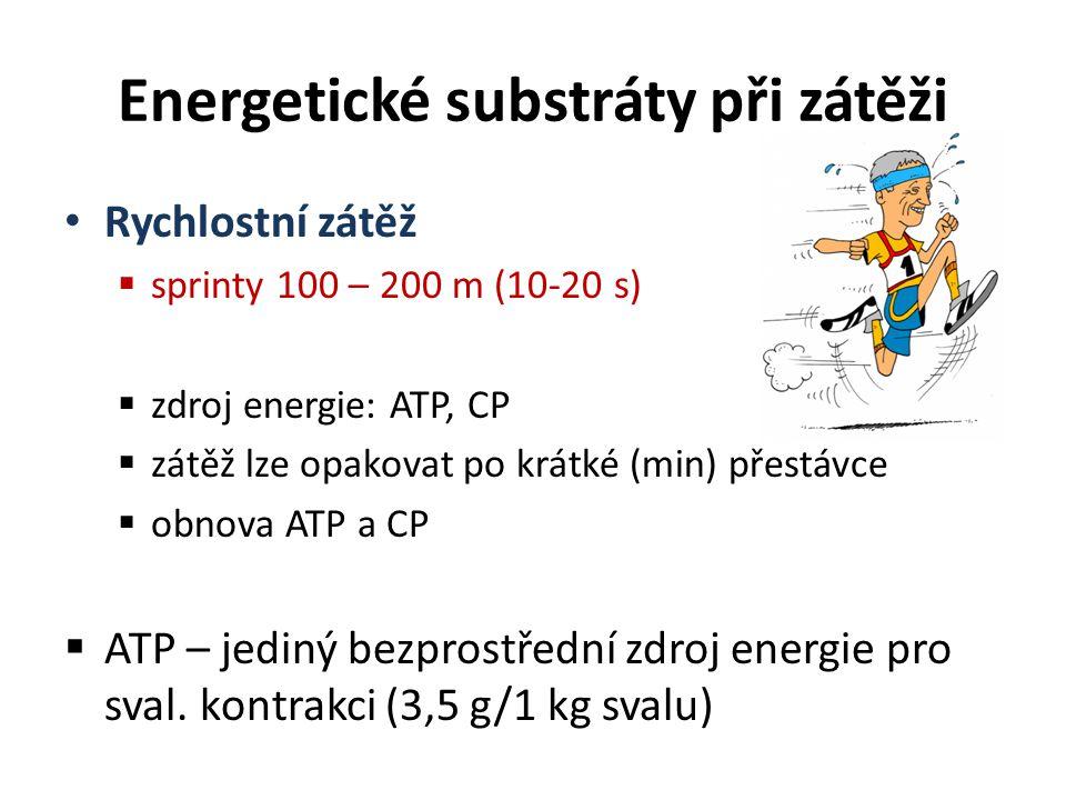 Rychlostní zátěž  sprinty 100 – 200 m (10-20 s)  zdroj energie: ATP, CP  zátěž lze opakovat po krátké (min) přestávce  obnova ATP a CP  ATP – jed