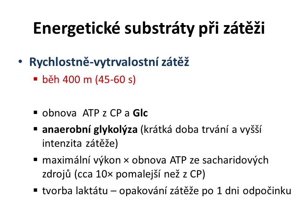 Rychlostně-vytrvalostní zátěž  běh 400 m (45-60 s)  obnova ATP z CP a Glc  anaerobní glykolýza (krátká doba trvání a vyšší intenzita zátěže)  maxi