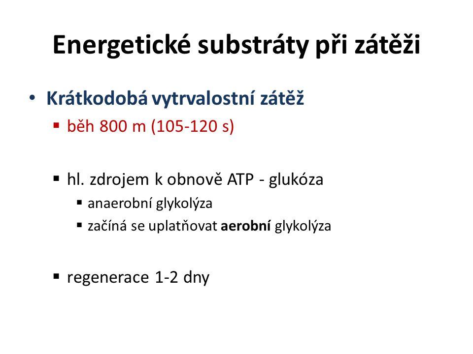 Krátkodobá vytrvalostní zátěž  běh 800 m (105-120 s)  hl. zdrojem k obnově ATP - glukóza  anaerobní glykolýza  začíná se uplatňovat aerobní glykol