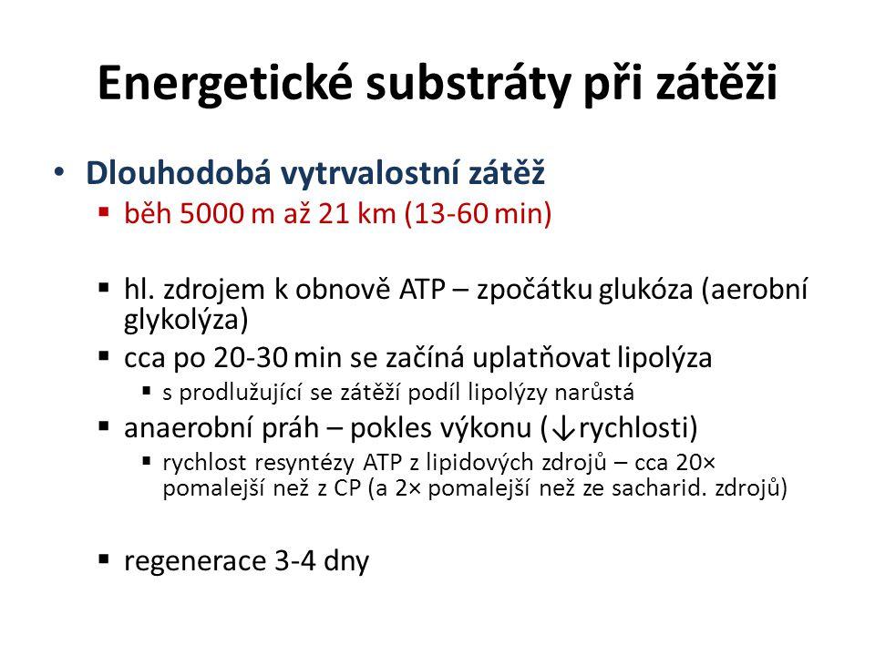 Energetické substráty při zátěži Dlouhodobá vytrvalostní zátěž  běh 5000 m až 21 km (13-60 min)  hl. zdrojem k obnově ATP – zpočátku glukóza (aerobn