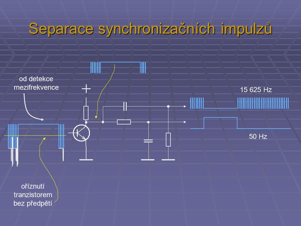 Separace synchronizačních impulzů od detekce mezifrekvence oříznutí tranzistorem bez předpětí 15 625 Hz 50 Hz